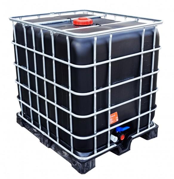 1000l IBC Wassertank Container GESPÜLT SCHWARZ PE-Palette